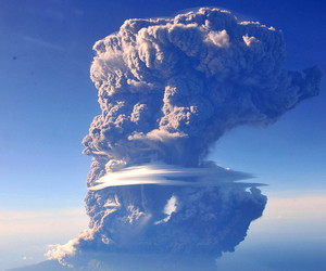 photography, volcano, and ash cloud image