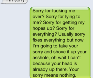sorry, text, and sorry means nothing image