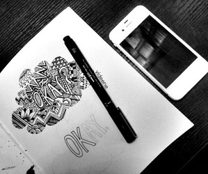 artwork, black and white, and drawing image