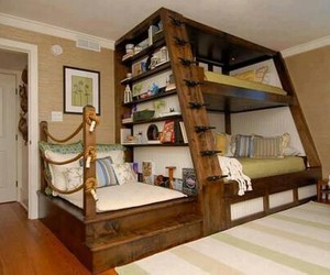 bedroom, cool, and library image
