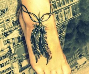 feet, girl, and tattoo image