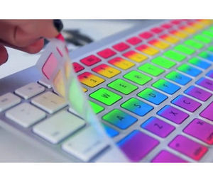 keyboard, rainbow, and colorful image