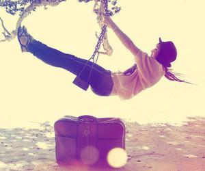 girl, swing, and bag image