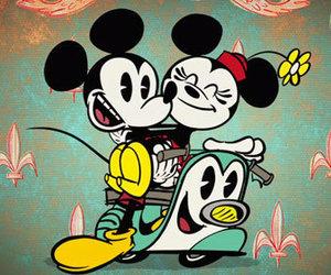 mickey, disney, and minnie image