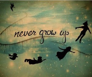 peter pan, disney, and never grow up image