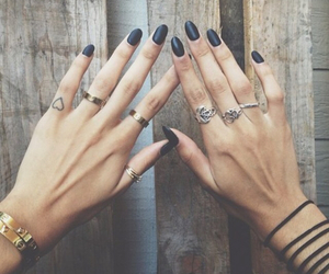 black nails, gold, and heart image