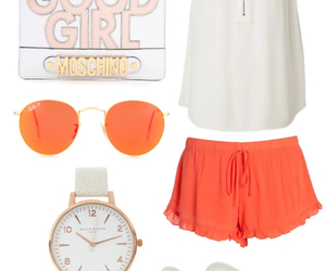 orange, outfit, and rayban image