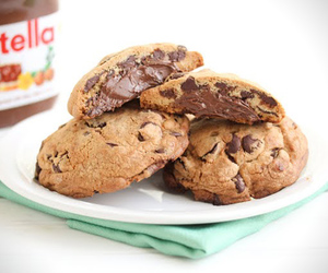 nutella, chocolate, and cookie image