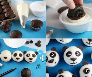 panda, cupcake, and food image