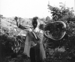 bubbles, girl, and black and white image