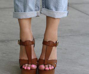 brown, heels, and nail polish image