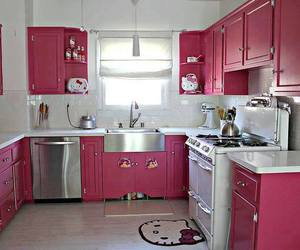 pink, kitchen, and hello kitty image