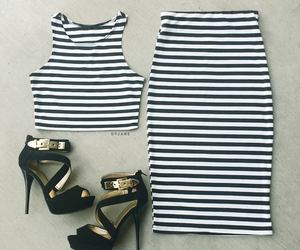 heels, outfit, and stripes image