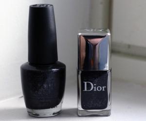 dior, nail polish, and black image