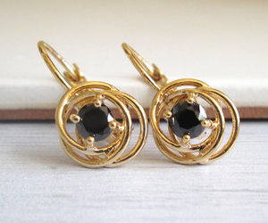 black and gold, black earrings, and elegant jewelry image