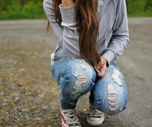 girl, jeans, and hair image