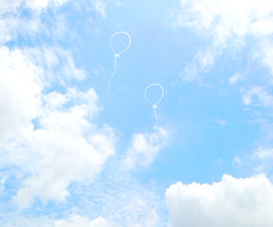 balloon, blue, and cloud image