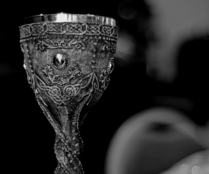 cup, black and white, and goblet image