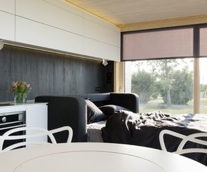 decoration., large glass window, and white interior furniture image