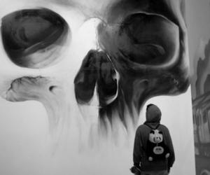 skull, art, and boy image