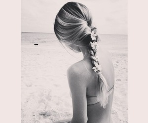 beach, black and white, and flowers image