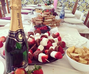 food, champagne, and strawberry image