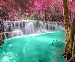 water, waterfall, and pink image
