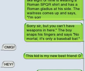 text messages, hoo, and pjo image