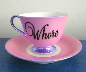 whore, pink, and cup image