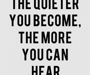 hear, quietness, and text image