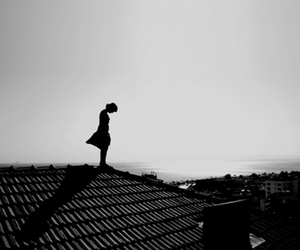 black and white, girl, and alone image