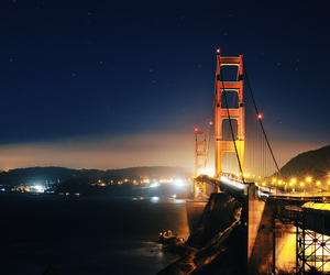 san francisco, bridge, and lights image