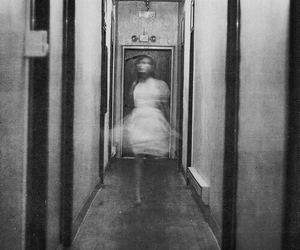 girl, black and white, and ghost image