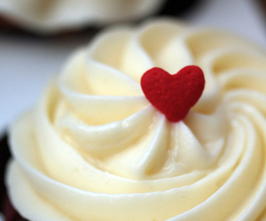 cupcake, red heart, and yellow frosting image