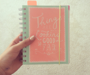 diary, organize, and pink image