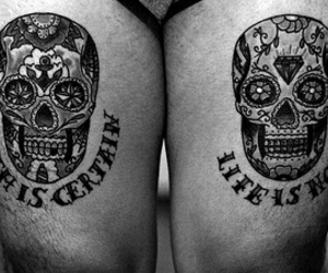 skull, tattoo, and black and white image