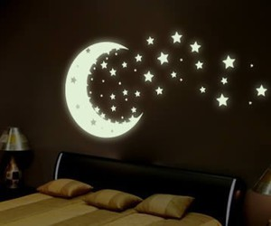moon, stars, and bedroom image