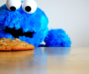 blue, cookie, and cookie monster image
