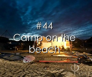 wish, bucket list, and beach camping image