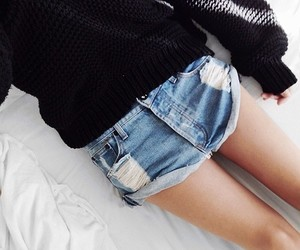 denim, knitted, and outfit image