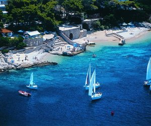 beach, blue, and dubrovnik image