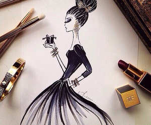 beauty, drawing, and black image