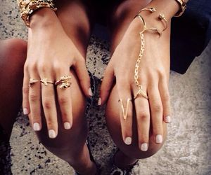 rings, gold, and nails image
