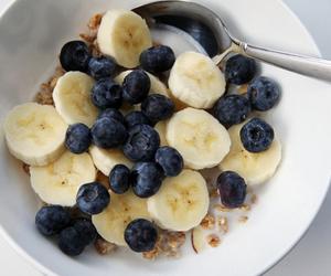 food, banana, and blueberry image