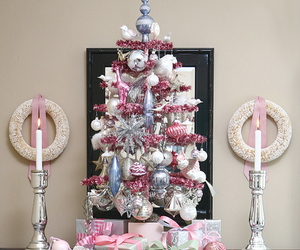christmas tree, elegant, and pink image