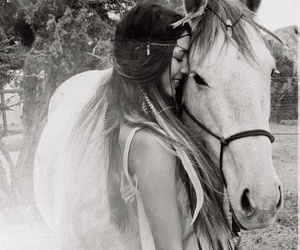 horse, girl, and black and white image