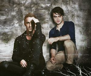dan radcliffe, draco malfoy, and harry potter image