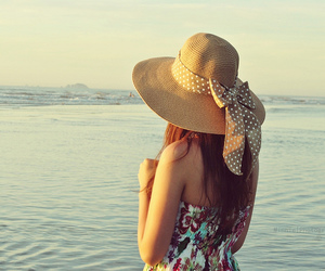 girl, hat, and sea image