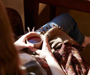 coffee, blanket, and tea image