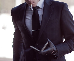 suit, cigarette, and sexy image